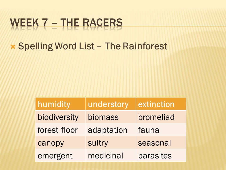 Week 7 – The racers Spelling Word List – The Rainforest humidity