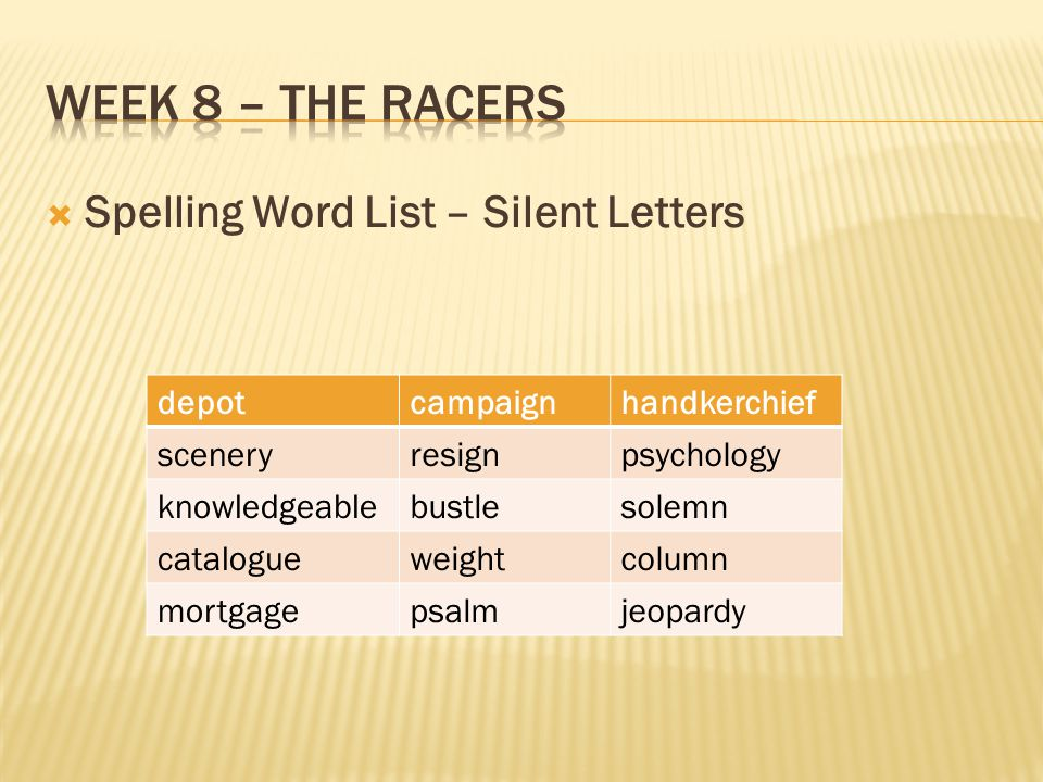 Week 8 – the racers Spelling Word List – Silent Letters depot campaign