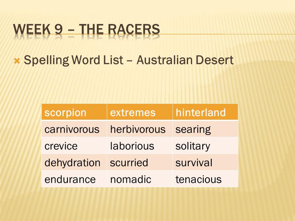 Week 9 – The racers Spelling Word List – Australian Desert scorpion