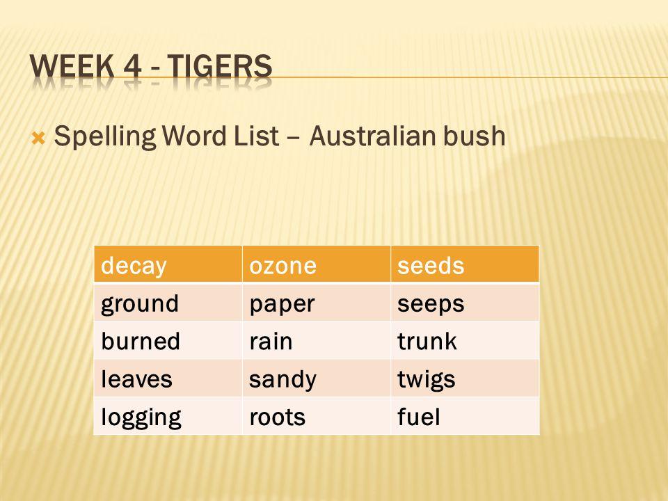 Week 4 - Tigers Spelling Word List – Australian bush decay ozone seeds