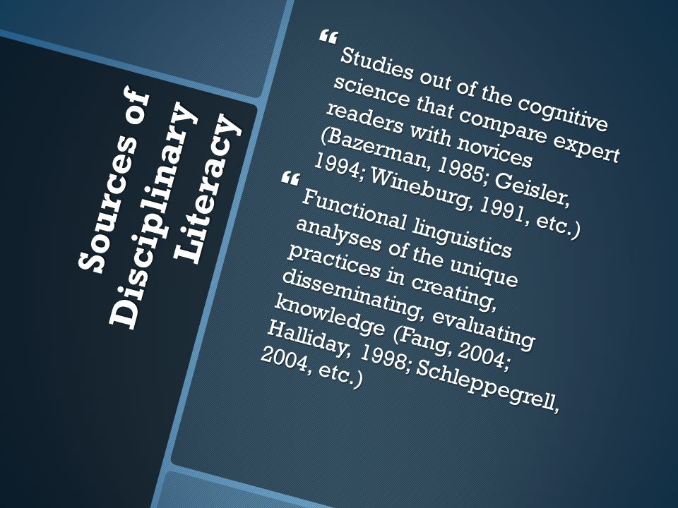 Sources of Disciplinary Literacy