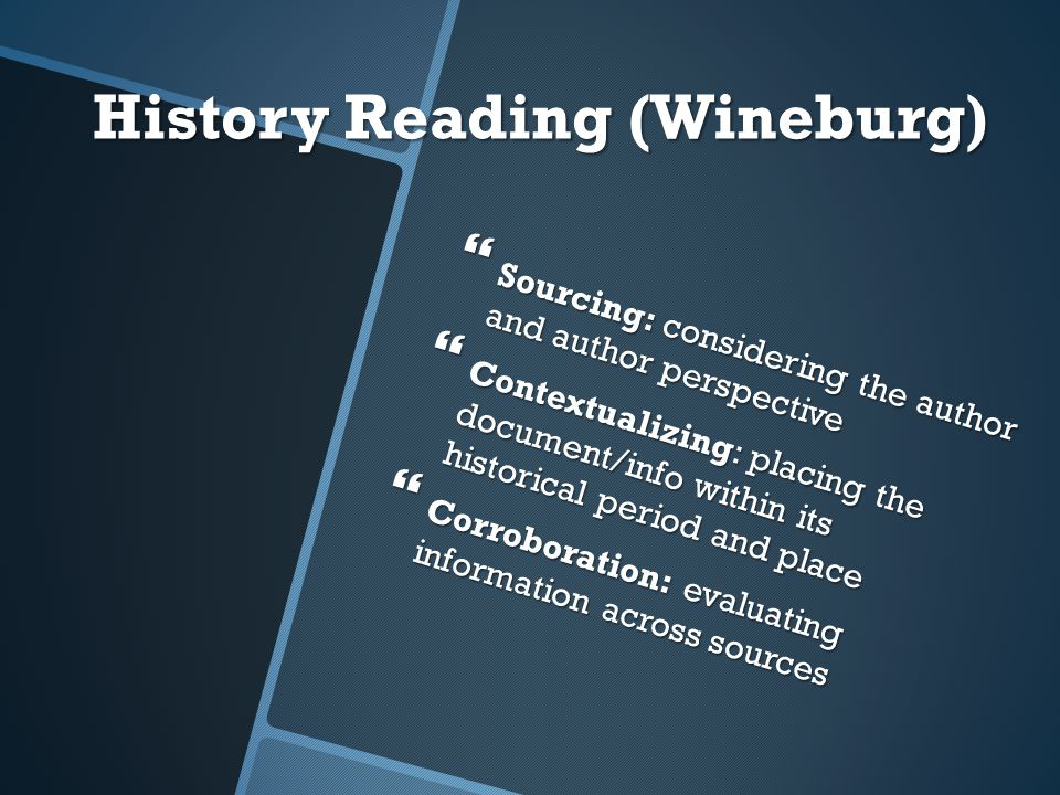 History Reading (Wineburg)