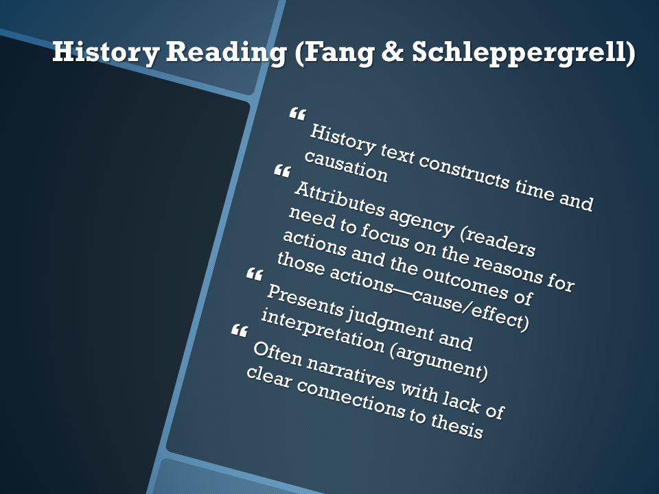History Reading (Fang & Schleppergrell)