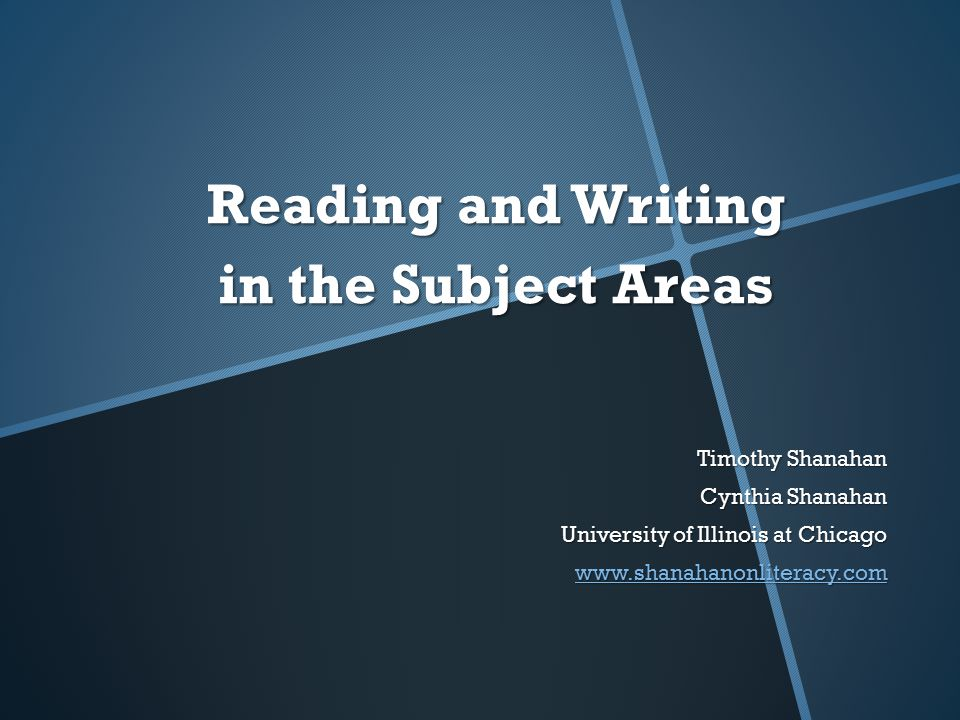 Reading and Writing in the Subject Areas