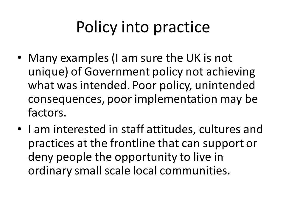 Policy into practice