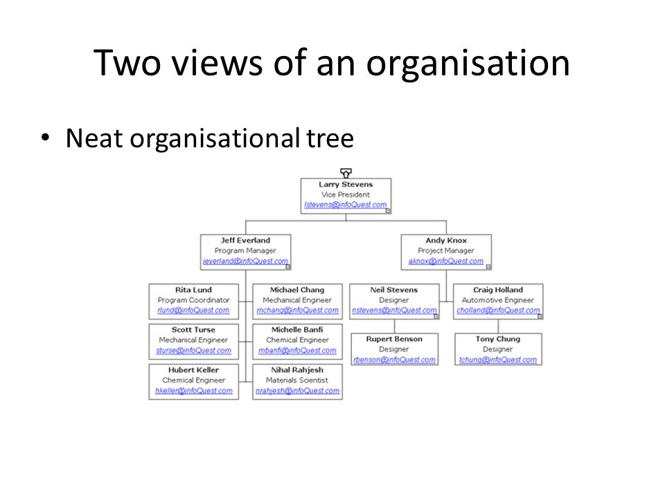 Two views of an organisation