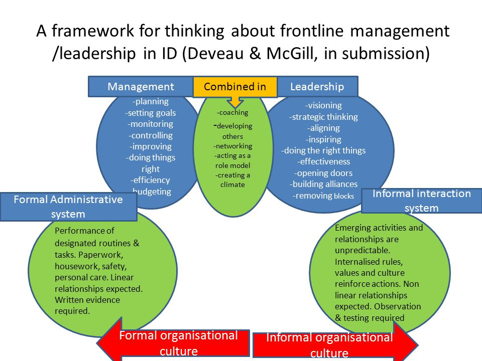 A framework for thinking about frontline management /leadership in ID (Deveau & McGill, in submission)