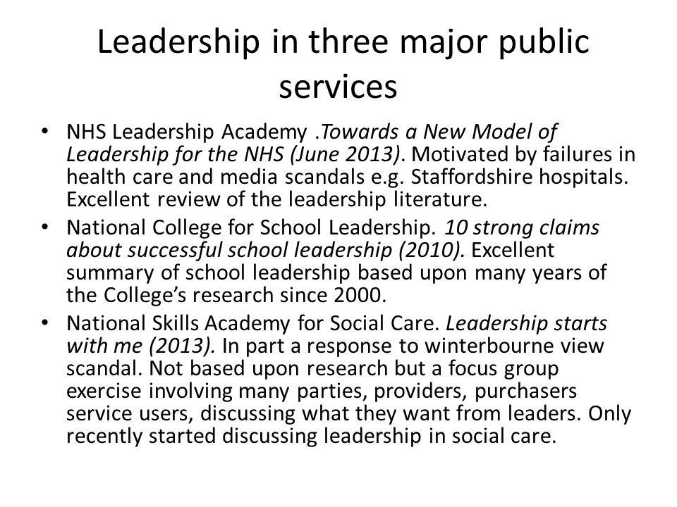 Leadership in three major public services
