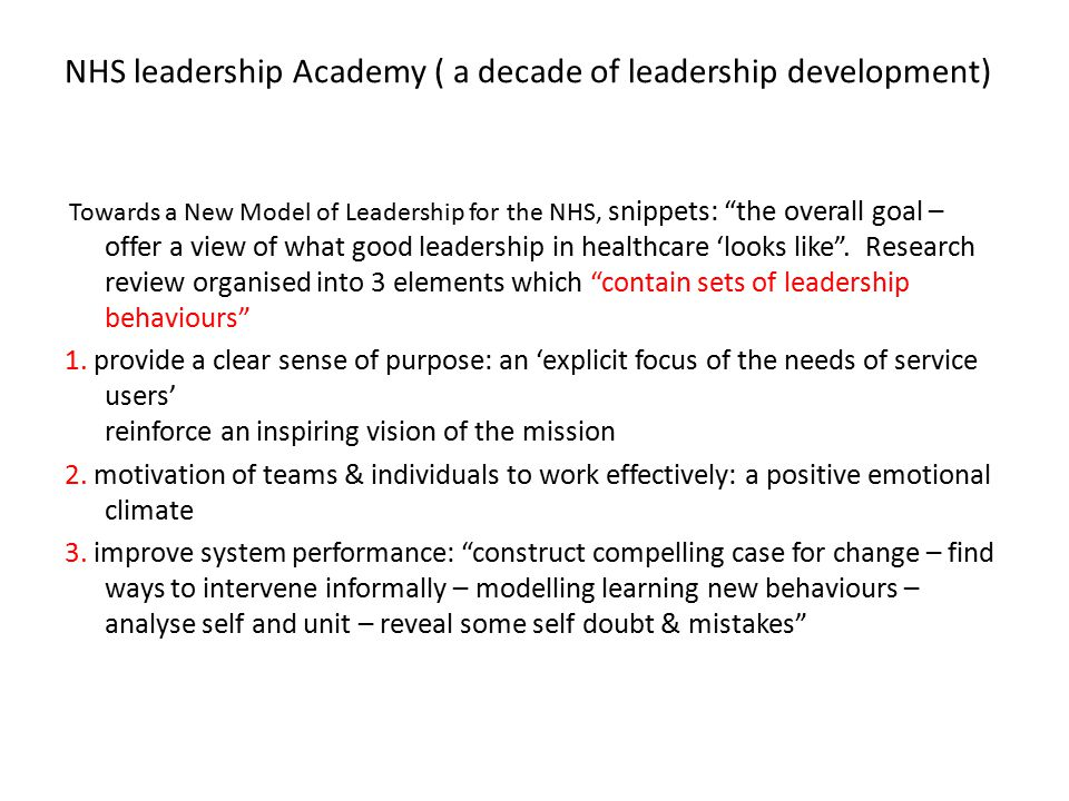 NHS leadership Academy ( a decade of leadership development)
