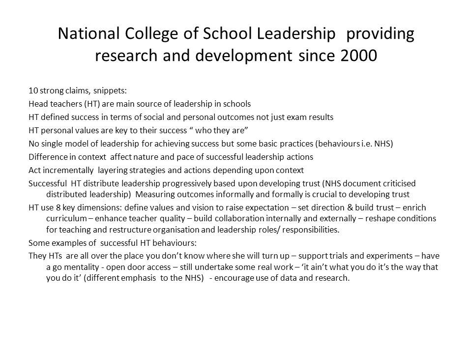 National College of School Leadership providing research and development since 2000