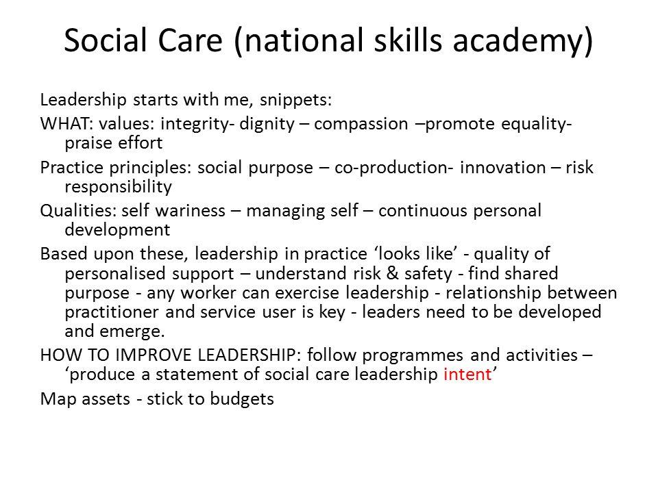 Social Care (national skills academy)
