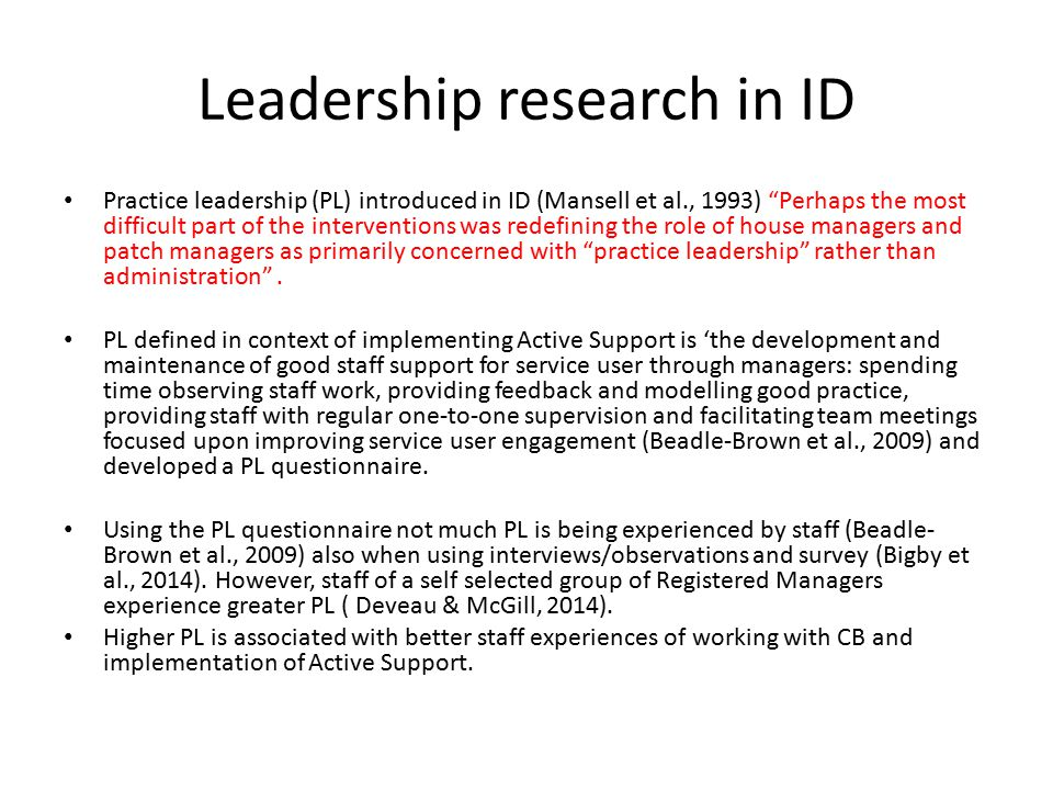Leadership research in ID