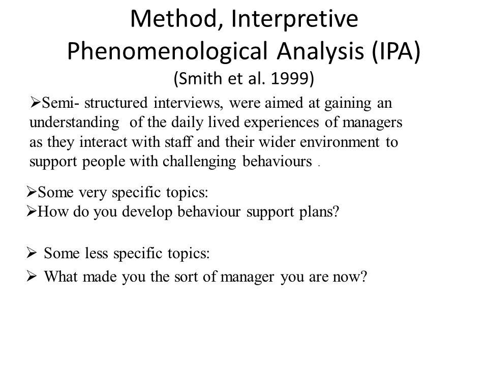 Method, Interpretive Phenomenological Analysis (IPA) (Smith et al