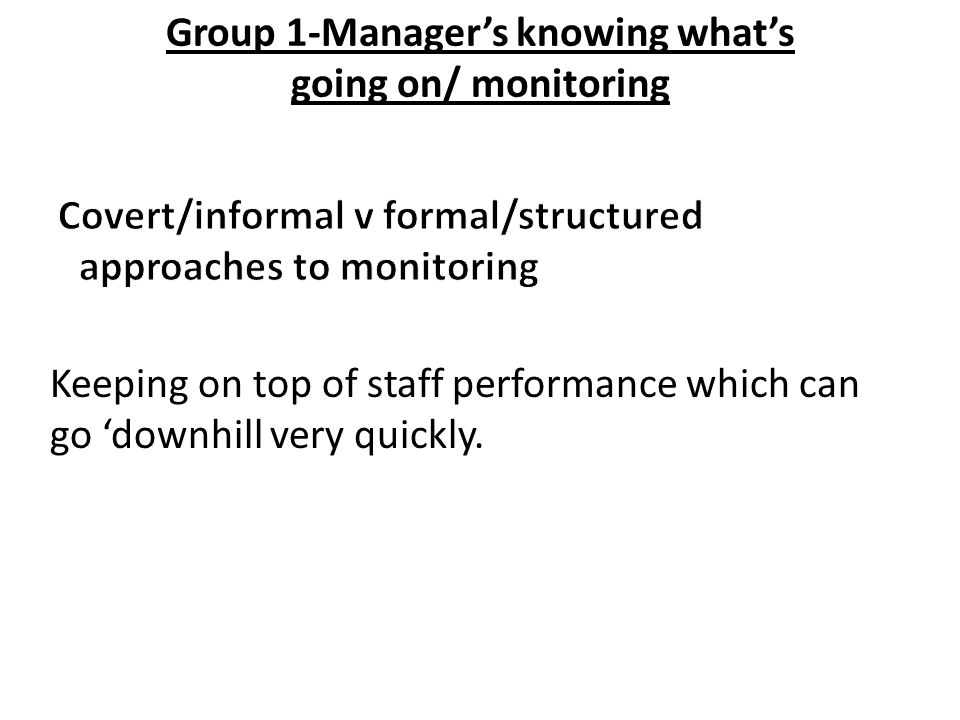 Group 1-Manager's knowing what's going on/ monitoring