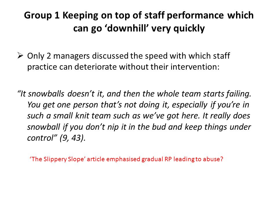 Group 1 Keeping on top of staff performance which can go 'downhill' very quickly