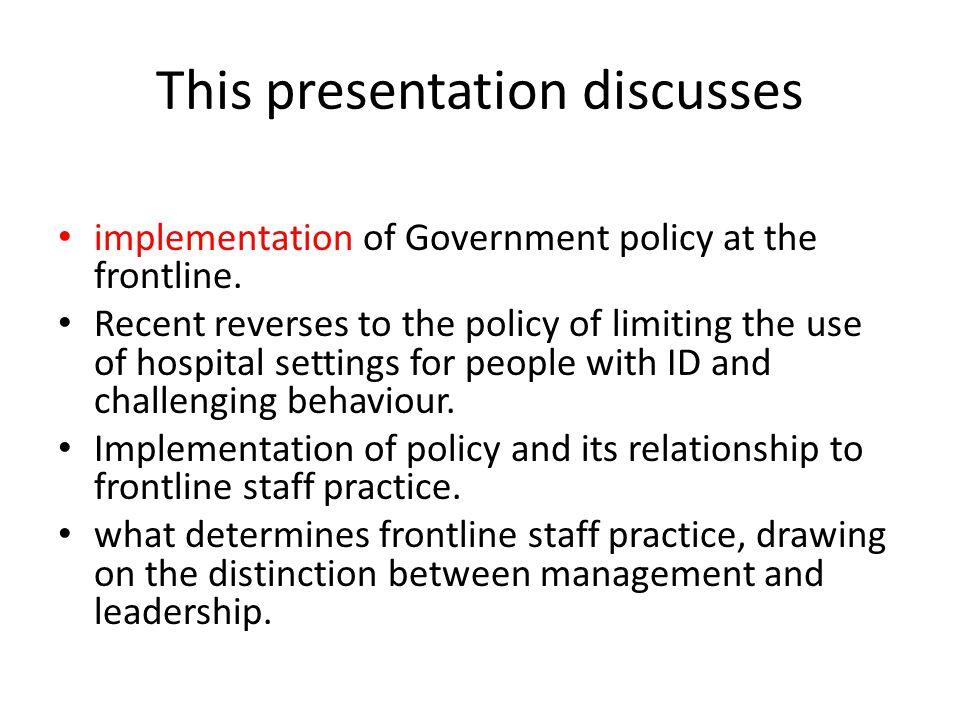 This presentation discusses