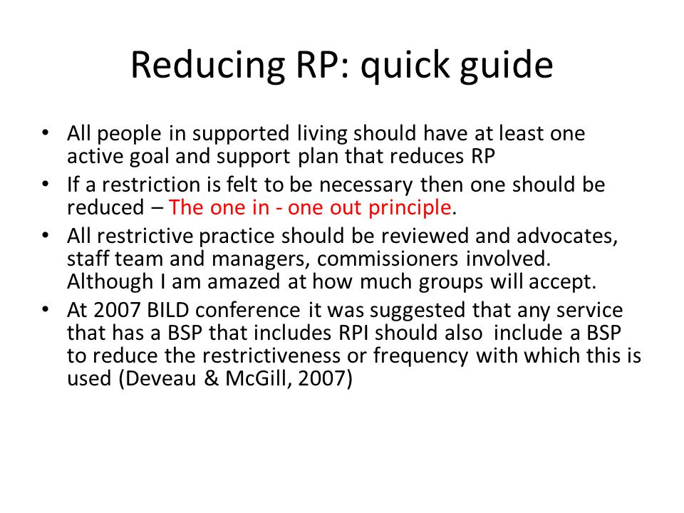 Reducing RP: quick guide