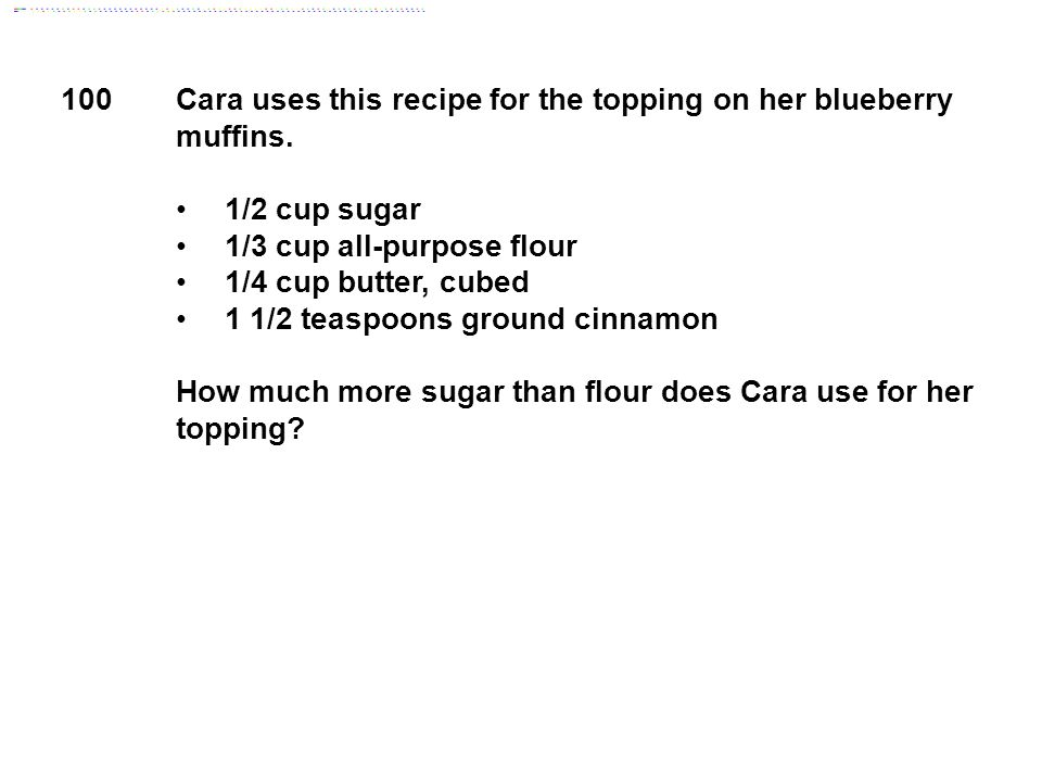 Cara uses this recipe for the topping on her blueberry muffins.