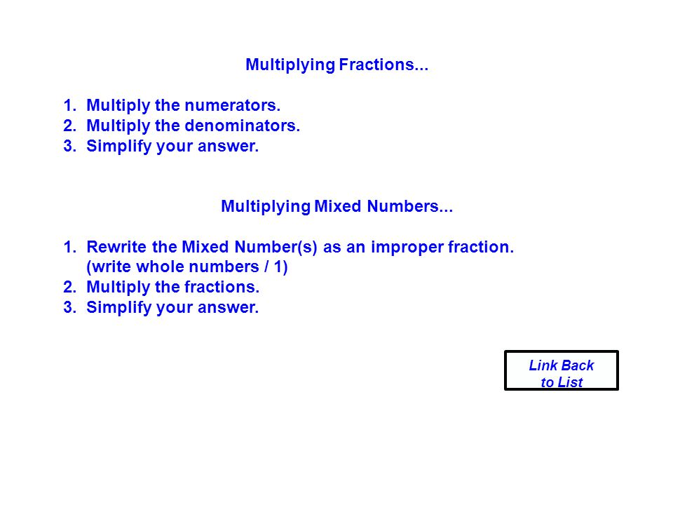 Multiplying Fractions... Multiplying Mixed Numbers...