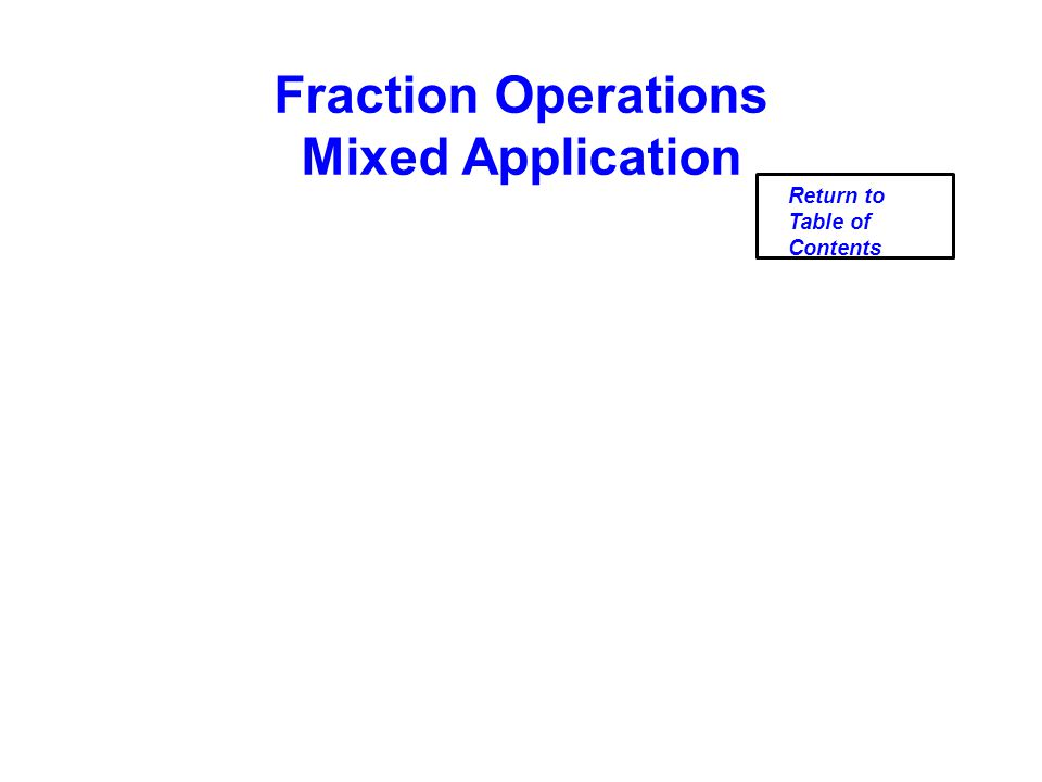 Fraction Operations Mixed Application