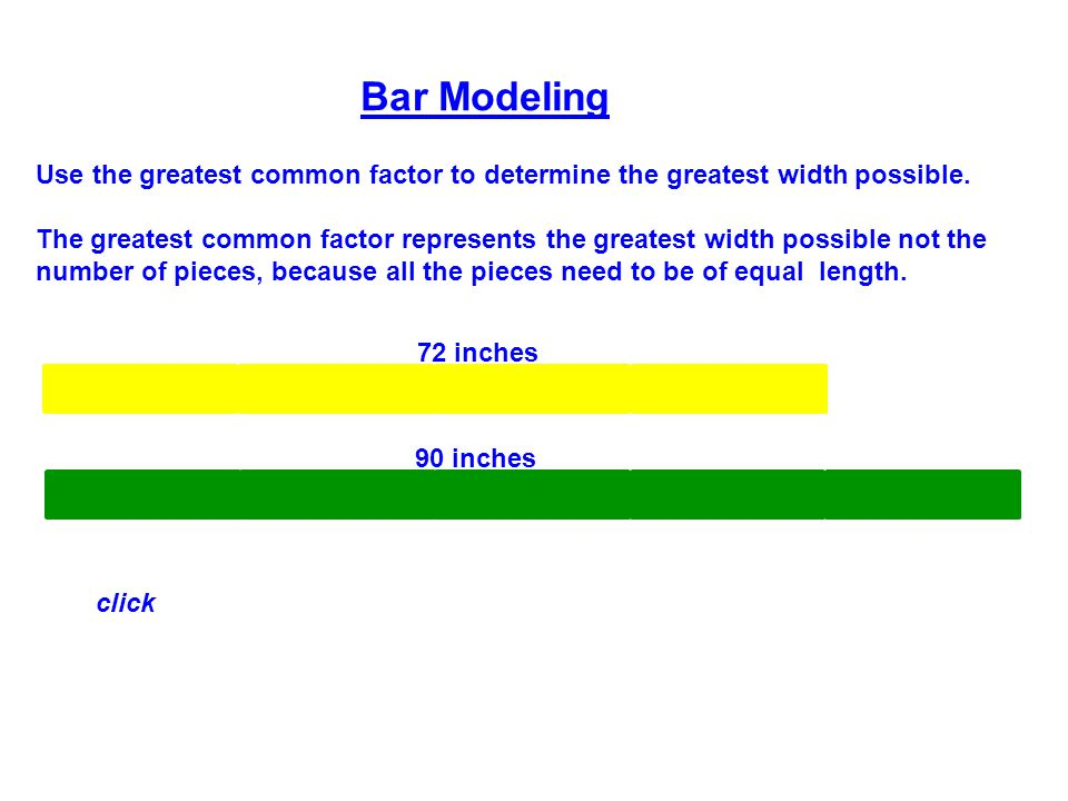 Bar Modeling Use the greatest common factor to determine the greatest width possible.
