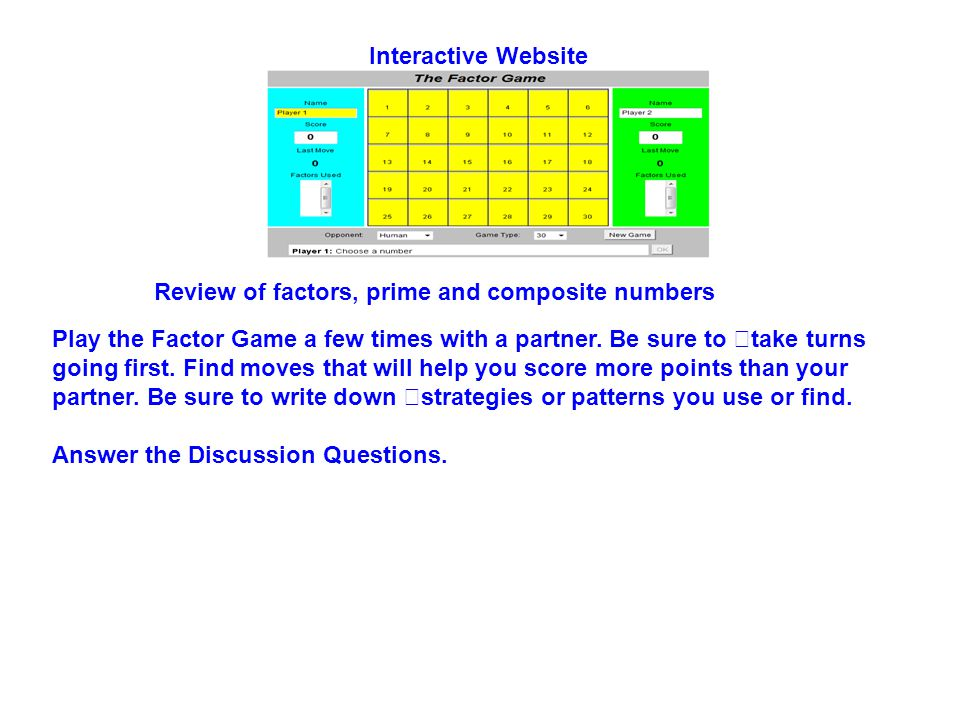 Interactive Website Review of factors, prime and composite numbers.