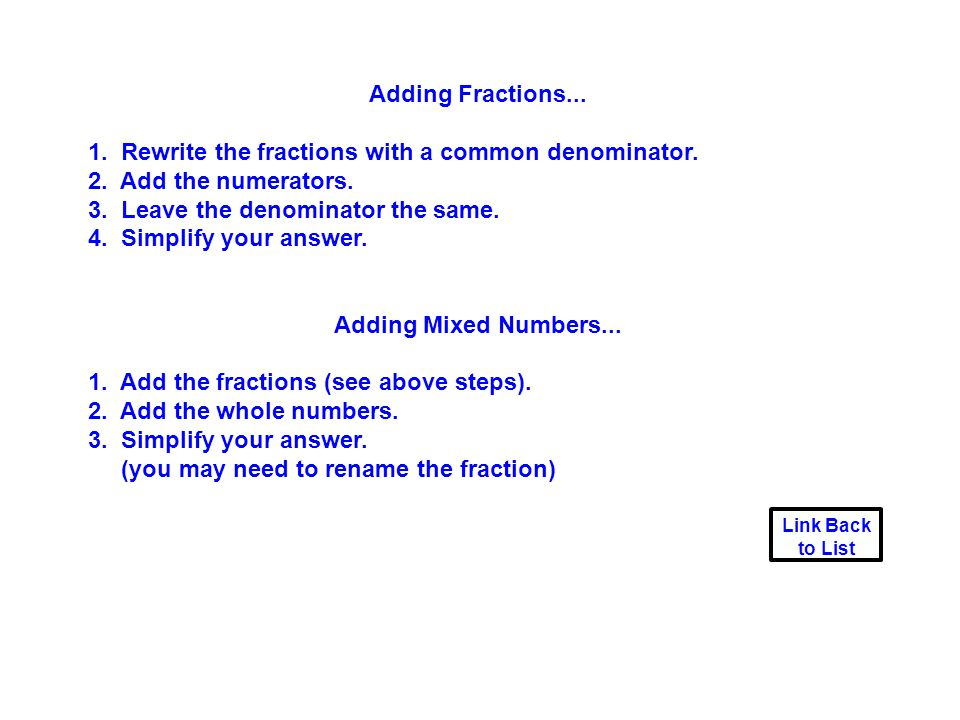 Adding Fractions... Adding Mixed Numbers...