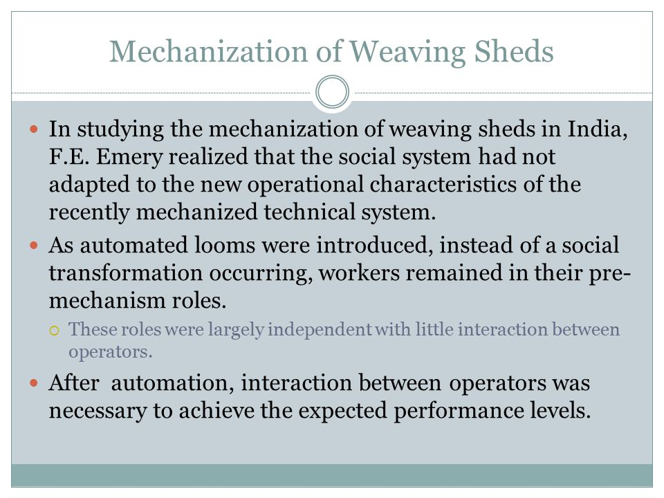 Mechanization of Weaving Sheds