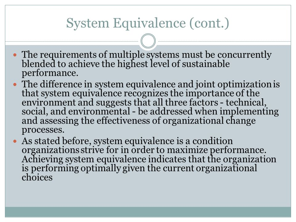 System Equivalence (cont.)