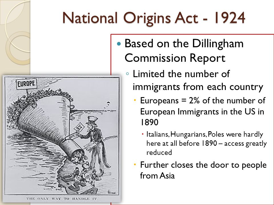 National Origins Act - 1924 Based on the Dillingham Commission Report