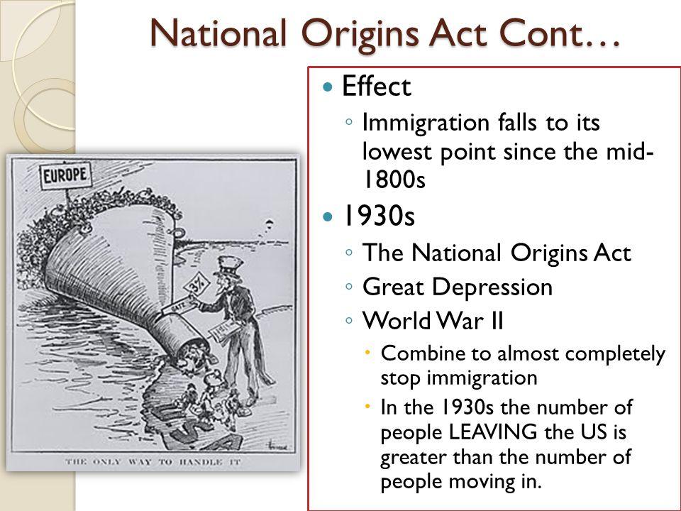 National Origins Act Cont…