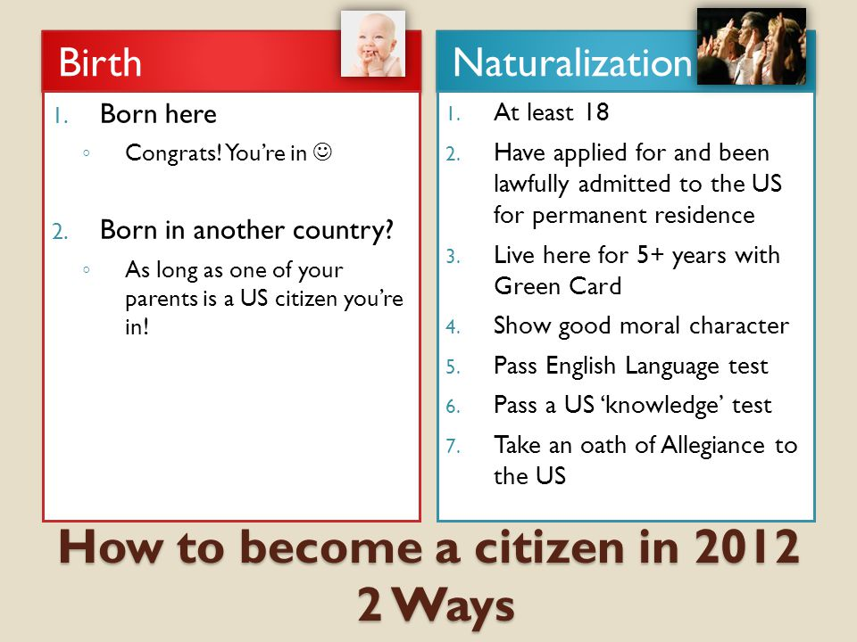 How to become a citizen in 2012 2 Ways