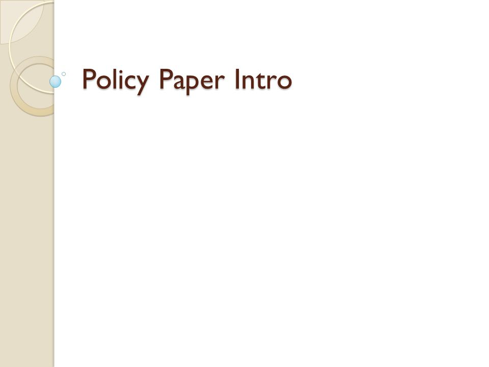 Policy Paper Intro
