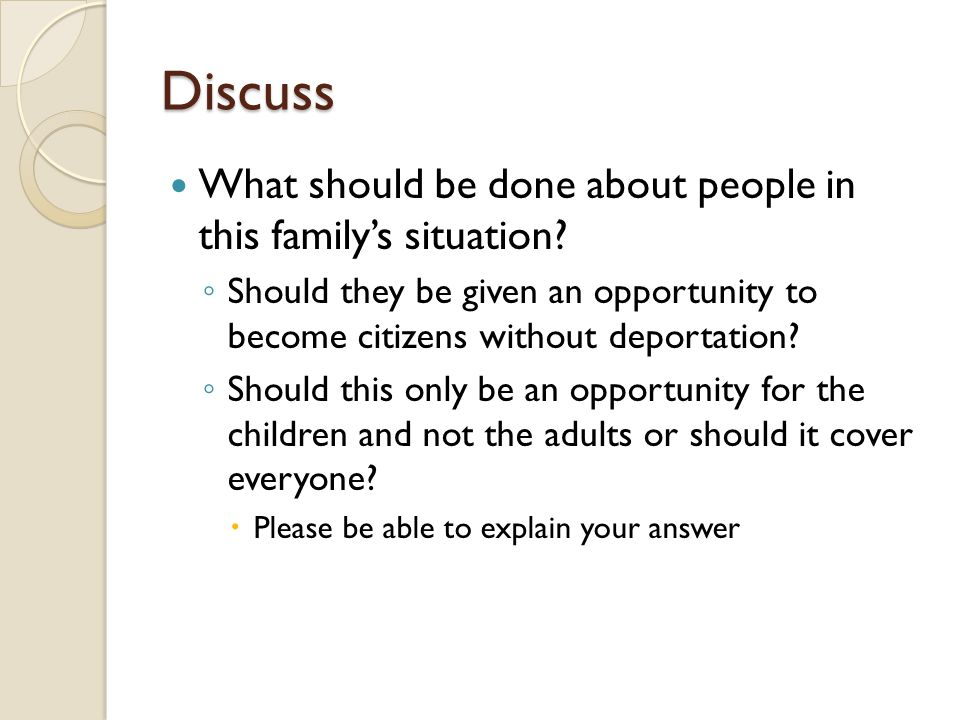 Discuss What should be done about people in this family's situation