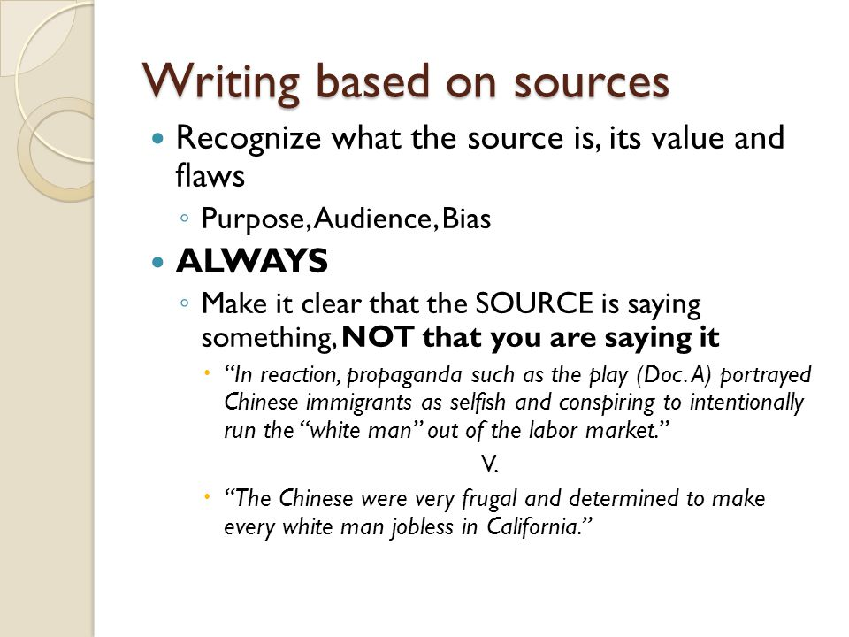 Writing based on sources