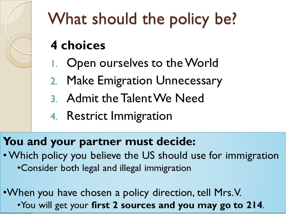 What should the policy be