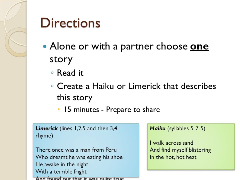 Directions Alone or with a partner choose one story Read it