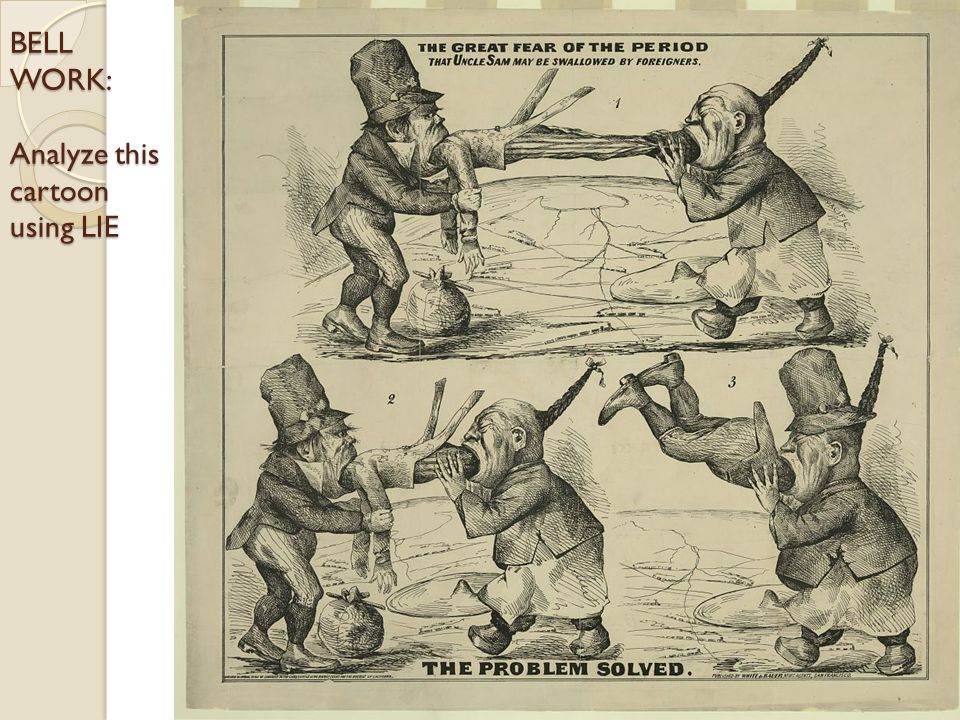 BELL WORK: Analyze this cartoon using LIE