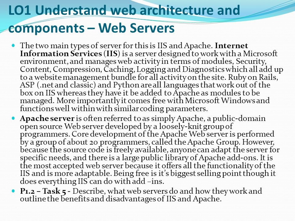 LO1 Understand web architecture and components – Web Servers