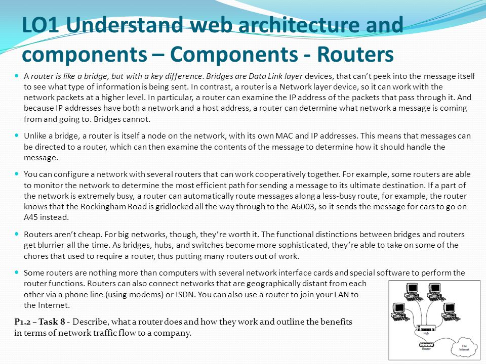LO1 Understand web architecture and components – Components - Routers