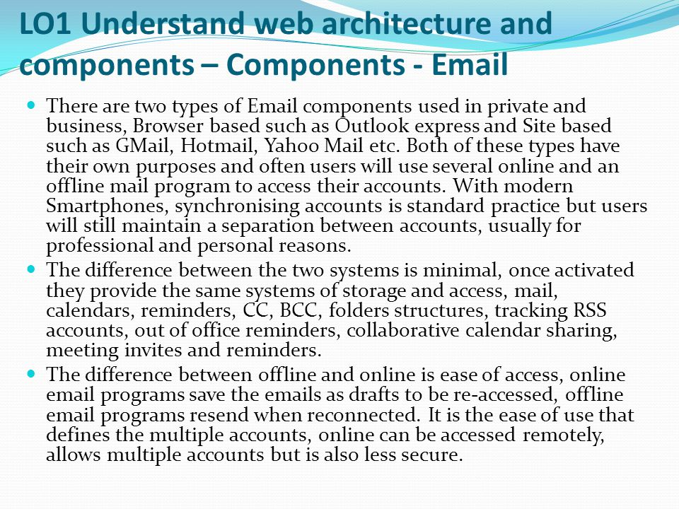 LO1 Understand web architecture and components – Components - Email