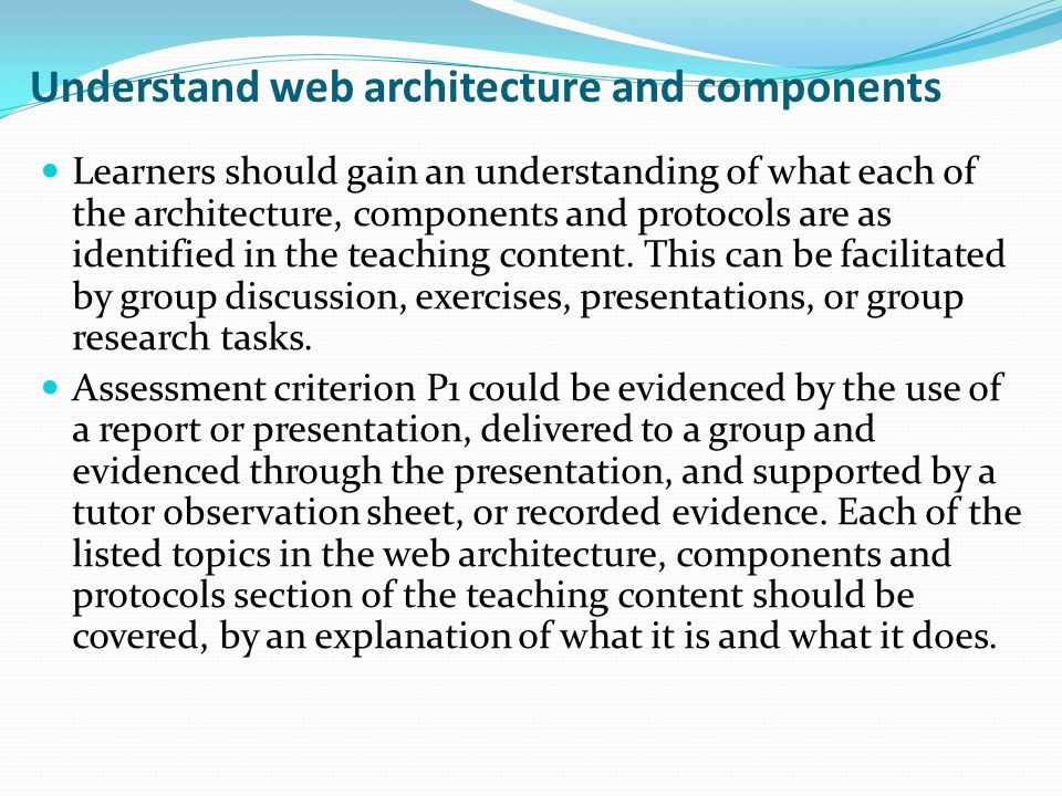 Understand web architecture and components