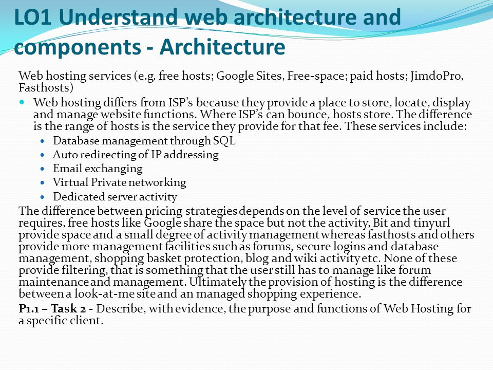 LO1 Understand web architecture and components - Architecture