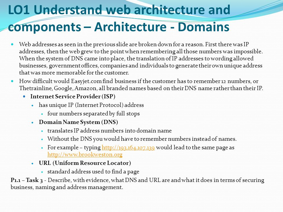 LO1 Understand web architecture and components – Architecture - Domains