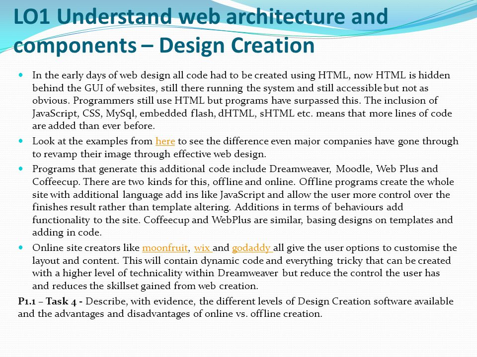 LO1 Understand web architecture and components – Design Creation