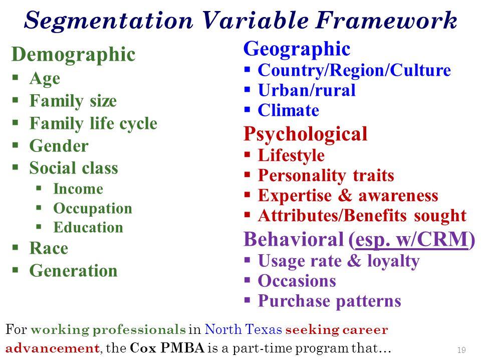 Segmentation Variable Framework