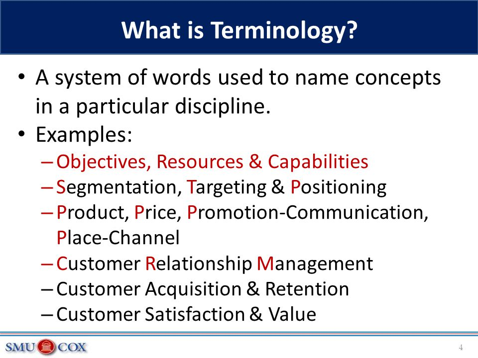 What is Terminology A system of words used to name concepts in a particular discipline. Examples: