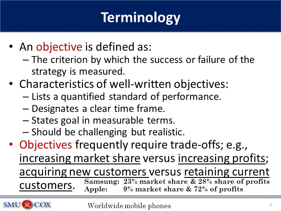 Terminology An objective is defined as:
