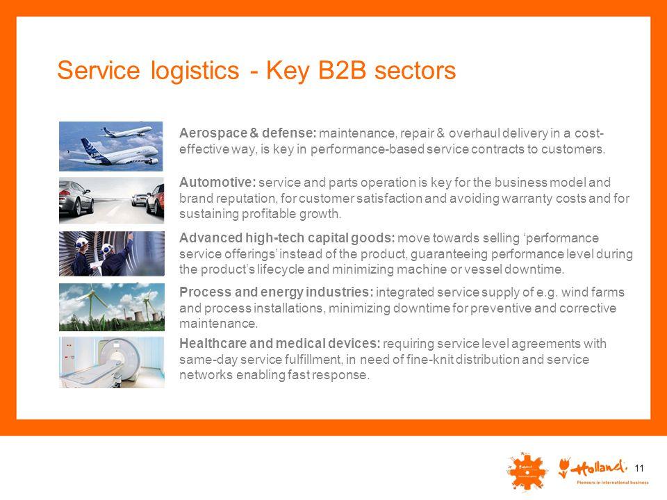 Service logistics - Key B2B sectors