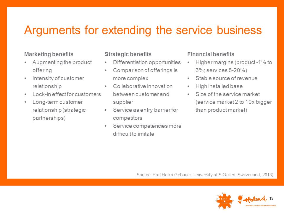 Arguments for extending the service business